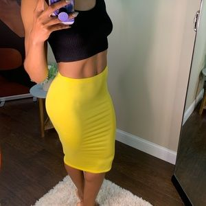 Yellow Boohoo midi skirt